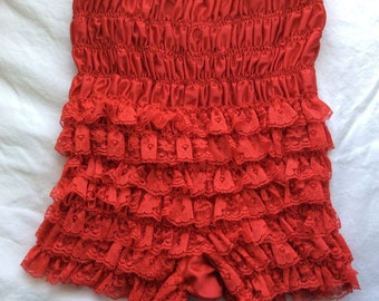 Vintage 1960s Red Lace Lacey - Rumba Rhumba panties pants - tap pants - small / medium