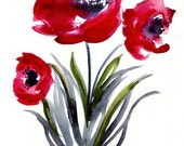 Poppies -  Watercolor Painting - Abstract Floral - Red - Flower Art - Illustration - 8x10 Giclee Print - Home Decor