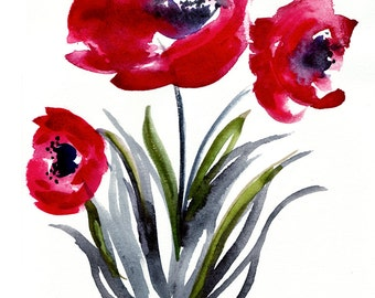 Poppies- Original Watercolor - Illustration - Painting - 8.5x11 - Flower Art - Nature - Floral Abstract Art - Red - Poppy