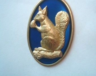 Squirrel Vintage Jewelry Brooch Blue Gold Tone