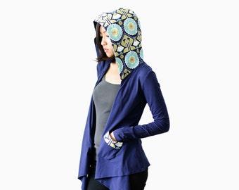 CLEARANCE - Convertible Sweater Wrap, Navy Blue Wrap, Organic Womens Wrap, Yoga Sweater, Wrap, New Mom Hoodie, Eco Long Sleeve Top - KANA