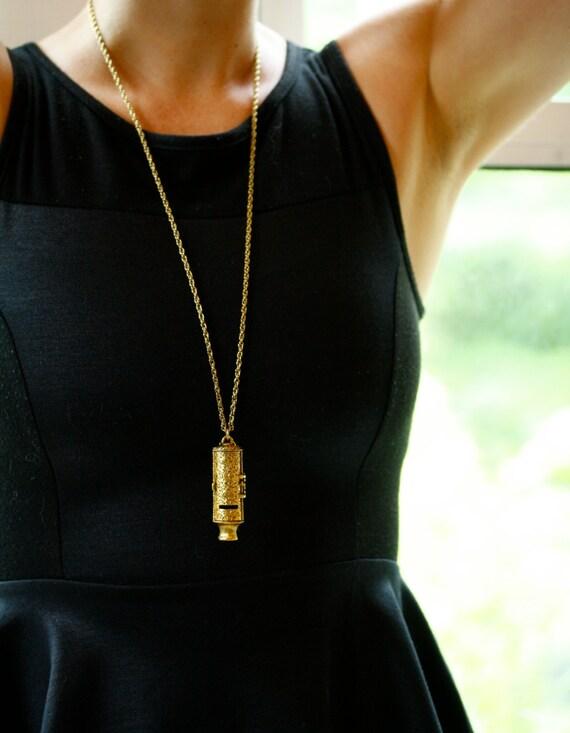 Long Vintage Gold Whistle Locket Necklace, Large Whistle Pendant, Secret Compartment Unique Heart Necklace, Perfume Whistle Jewelry
