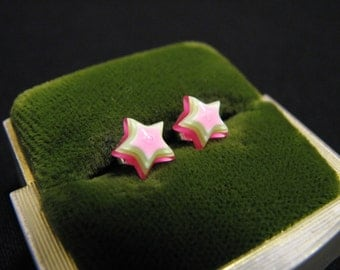Vintage Sterling Silver Neon Pink Green Yellow Rainbow Layered Lucite Star Stud Post Pierced Earrings