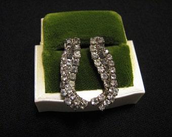 Vintage Silver Tone and Pave Diamond Rhinestone Swirl Pierced Earrings