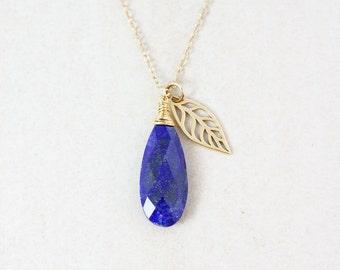Gold Blue Lapis & Leaf Necklace
