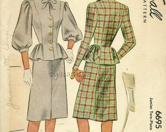 Vintage 1940s Pattern Button Front Peplum Dress Balloon or Tapered Sleeves 1946 McCall 6695 Bust 31