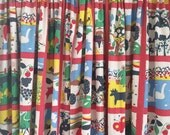vintage children's lined drape panels polka dots and farm scenes