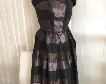 Gorgeous Vintage 1950's Strapless Rockabilly Tafetta Dress -- Size S