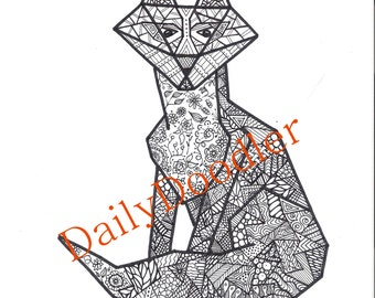 Adult Coloring Page - Fox Geometric - Instant Download - Zentangle - Doodle Illustration - DailyDoodler - Unique Fox Drawing