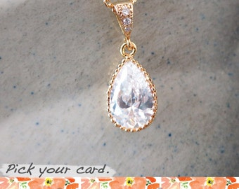 Suzette - Cubic Zirconia Teardrop Necklace, Gold Wedding Jewelry, Bridal Bridesmaid Necklace, White Crystal Jewelry, White Weddings