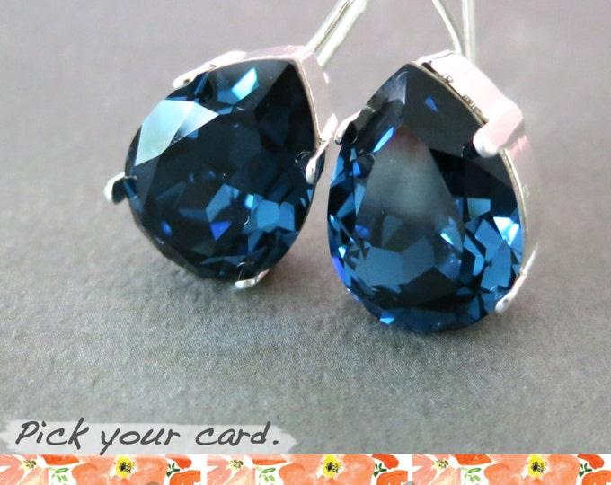 Ourania - Simple Swarovski Crystal Teardrop Earrings, Montana Blue Crystal Earrings, Silver plated, brides bridesmaid bridal simple earrings