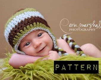 EASY CROCHET PATTERN baby boy crochet hat earflap beanie.  Instant Download.  sizes newborn to 10 years old