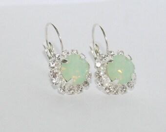 Seafoam Mint Green Silver Earrings, Swarovski Chrysolite Opal Crystal Rhinestone sparkling leverback Earrings Statement Wedding Jewelry