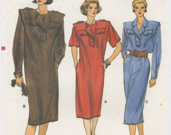 Vogue Safari Shirt Dress Sewing Pattern 9407, Size 6, 8, 10 UNCUT, Shoulder pads, Epaulets, Button Trim, Front Inset with Notched Collar