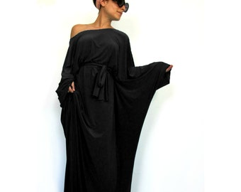 Black 'Tokyo Glam' maxi dress, Plus size evening gown, Long sleeve  gown, Plus size gown, Long sleeve dress, Black gown, Kimono dress