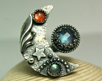 Moonstone Ring,  Crescent Moon Ring, Bohemian Style Jewelry, Sterling Silver Jewelry, Hippie Ring