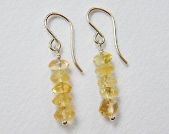 Citrine Pebble Bar Earrings - Sterling Silver Dangle Earrings Beaded earrings Beadwork Drop Earrings