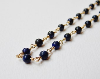 Lapis Lazuli Necklace - Gold Filled Beaded Necklace Rosary Necklace Beadwork Necklace Lapis Rosary Chain