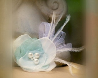 Ivory & Celadon Flower Fascinator Comb / Hair Clip / Brooch Pin / Barrette, Quinceanera Pageant, Bride Bridal Bridesmaid, Handmade Chic Gift