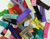 100 - MINI Lined Alligator Clips - Single Prong - You Choose Colors - Solid Ribbon Lined Baby Alligator Hair Clips - No Slip Hair Clips