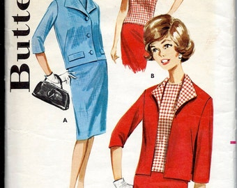 1960's Butterick Pattern No. 2178 : Suit Coordinates , Jacket , Slim Skirt and Overblouse  Bust 34