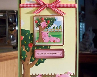 """Large Card for Children - 8.75"""" x 4.5"""" - Cute Farmyard Animals & Apple Tree - Pig Out on Your Birthday - Gold Foil Accenting - OOAK"""