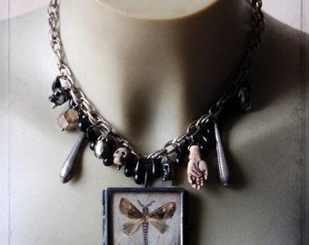 choker - Vanitas - gothic, moth, locket, victorian, assemblage, dark romance, mourning, goth, cabinet of curiosity