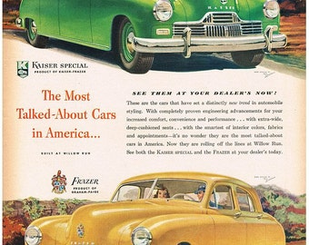 vintage mid century classic american car kaiser sedan illustration digital download