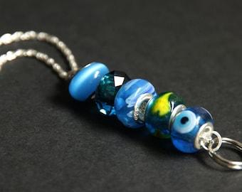 Caribbean Blue Badge Holder. Teal Badge Lanyard. Aqua Id Lanyard. Beaded Lanyard. Badge Necklace. Lampwork Glass Lanyard.
