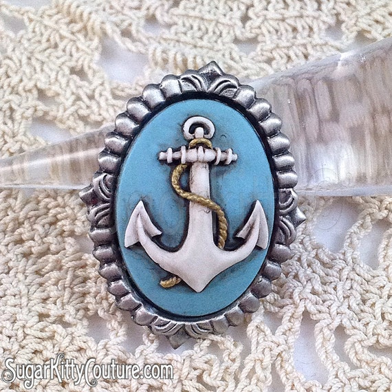 Custom Cameo Resin Pins Diy: Anchor Hand Painted Cameo Brooch SugarKitty By