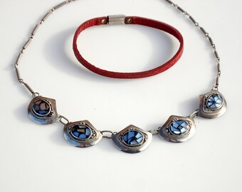Vintage Bohemian Sterling Silver Choker and Red Leather Bracelet