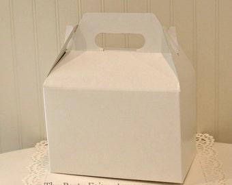 Favor Box, 6 White Gable Boxes, Favor Box, Wedding Favor Box, Party Favors, Goodie Box, Hotel Guest Welcome Box, White Favor Box, Gable Box