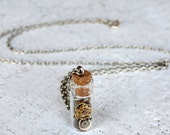 Time In A Bottle Necklace. Miniature Clock Pieces. Steampunk, Gears, Pocket Watch.