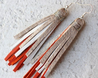 Leather Fringe Earrings in Rose Pink, White, and Silver. Leather Tassel. Recycled Leather Jewelry by Kiss Every Comma
