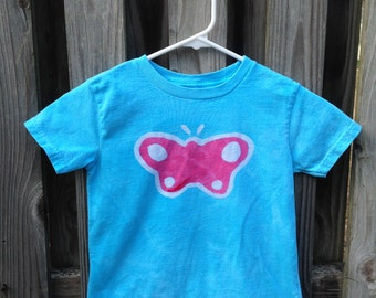 Kids Butterfly Shirt, Girls Butterfly Shirt, Turquoise Butterfly Shirt, Pink Butterfly Shirt, Batik Butterfly Shirt (4/5)