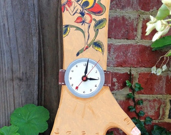 OOAK -- Hand painted wooden clock with Lady Butterfly Tattoo