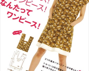 One Piece Dress Patterns - Yoshiko Tsukiori - Japanese Sewing Pattern Book for Women Clothing, Easy Sewing Tutorial, Instruction - B1576
