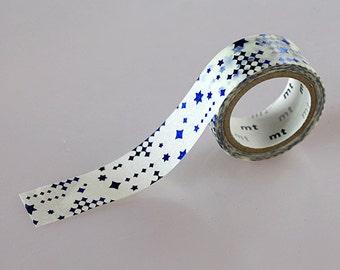 Star / White + Blue, Japanese Washi Paper Masking Tape, mt fab, Journal Washi, Planner Washi, Adhesive Deco Tape, Kawaii Card Decoration