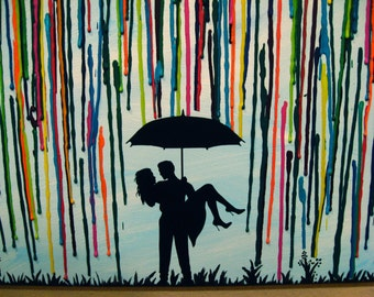 Custom Handmade Wedding Gift, Couple Under Umbrella Painting, In The Rain, Melted Crayon Art, Silhouette Art, Romantic, Wax Painting - 16x20
