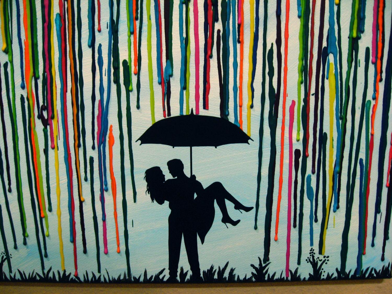 Wedding Gift Paintings: Custom Handmade Wedding Gift Couple Under Umbrella Painting