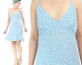 50% OFF SALE 90s Polka Dot Dress Spaghetti Strap Dress Baby Blue Dress Ruffle Hem Dress Salsa Dancer Dress Summer Retro Slip Dress (S)