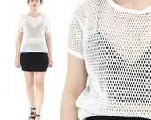 80s 90s White Mesh Tshirt Cut Out Sheer Tshirt Fishnet Tee Holes Crochet Top Minimalist Layering Top Womens Vintage White Tshirt (S/M)