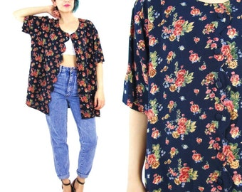 90s Grunge Floral Blouse Short Sleeve Shirt Navy Blue Rose Print Blouse Short Scalloped Edge Button Down Front Plus Size Vintage (L/XL)