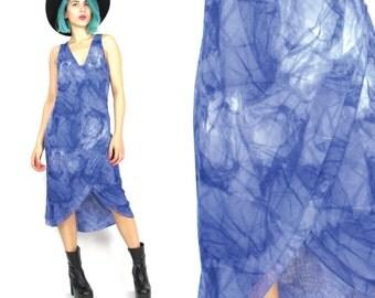 25% OFF SALE 90s Blue Tie Dye Dress Fishtail Dress Faux Wrap Dress Sleeveless Blue Dress Stretchy Spandex Dress Hippie Boho Dress (L)
