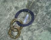 Triple Ringed Pendant Necklace - Deep Purple