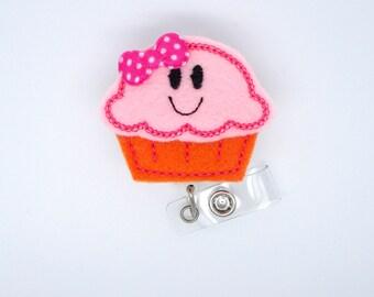 Smiling Cupcake Pink and Orange - Retractable ID - Name Badge Holder - Nurse Badge Holder - Badge Holder - Cute Badge Reel - Nursing Badge