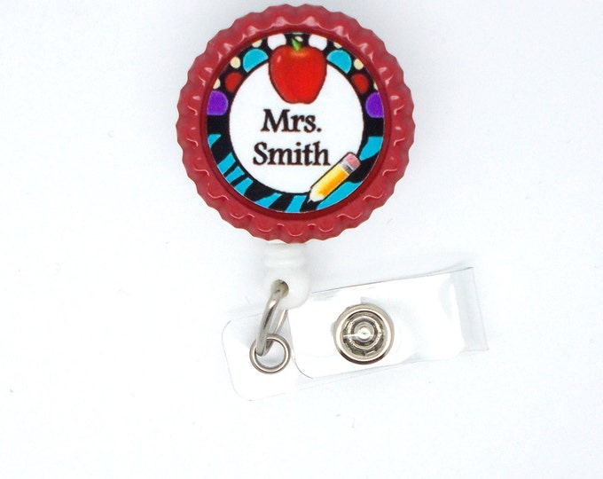 Personalized Teacher with Apple - ID Badge Holder - Badge Reel - Name Badge Holder - Teacher Badge - School Badge - Preschool Badge Holder