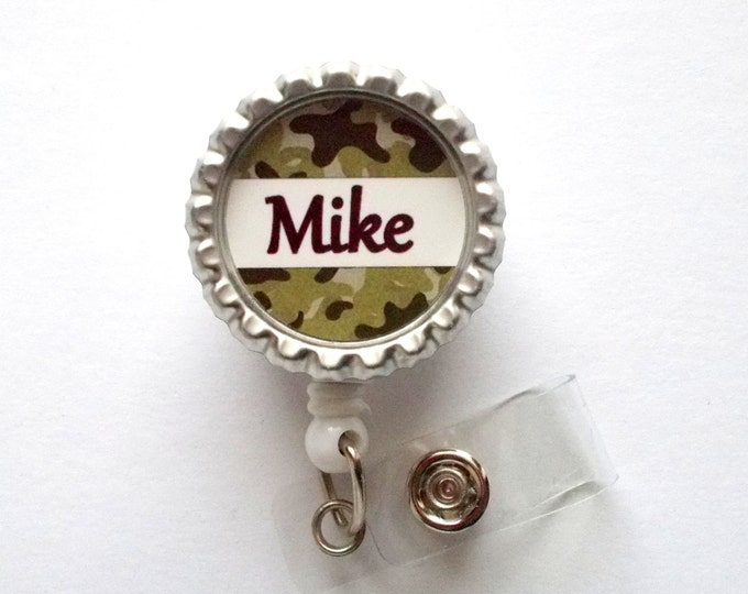 Personalized Camouflage Brown Bottle Cap Badge Reel - Male Badge Reel - Teacher Badge - Dr Badge Reel - Camo Badge Reel - Male Nurse Badge