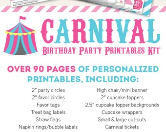 Pink Carnival or Circus Birthday Party Printable Decor Kit - Over 90 pages of fun designs!
