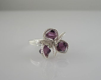 RI-0126  Swarovski Crystal Ring, 3-Bead Flower Ring, Purple Bead Ring, Handmade Ring, Wire Wrapped in Sterling Silver Wire